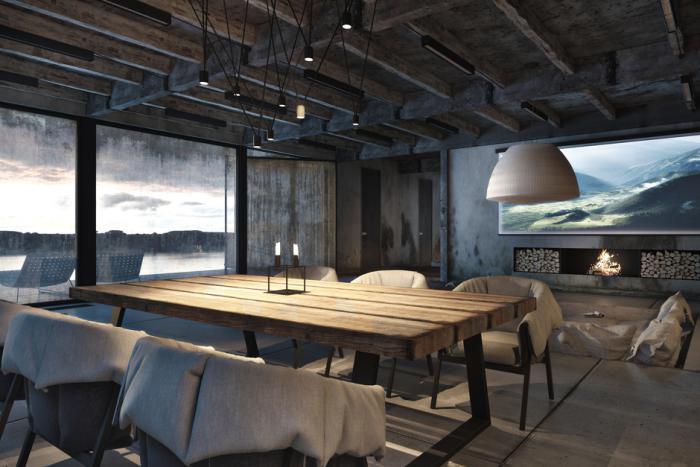 salle-à-manger-style-industriel-rustique-chaises-tapissées-plafond-poutres-apparentes