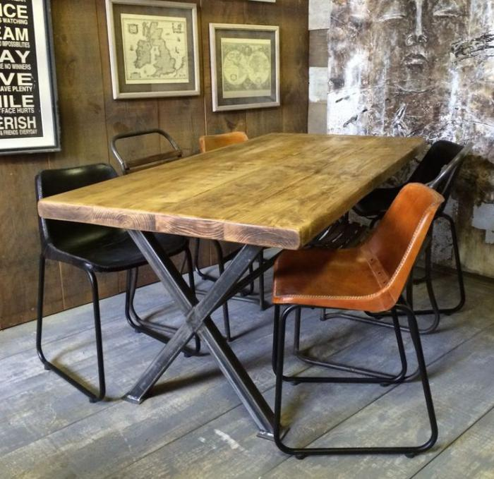 salle-à-manger-style-industriel-salle-à-manger-industrielle-rustique
