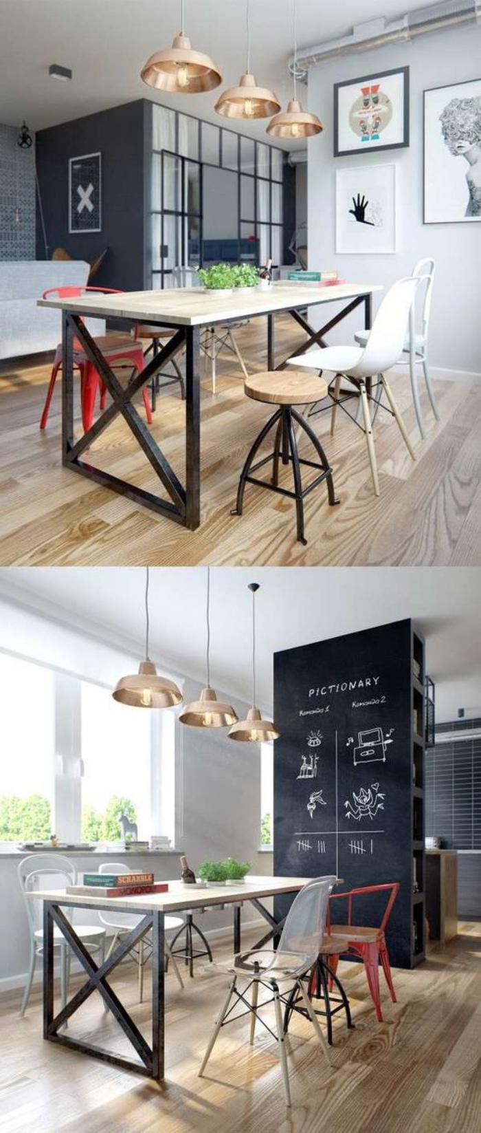 salle-à-manger-style-industriel-table-haute-style-indus-et-chaises-de-bar