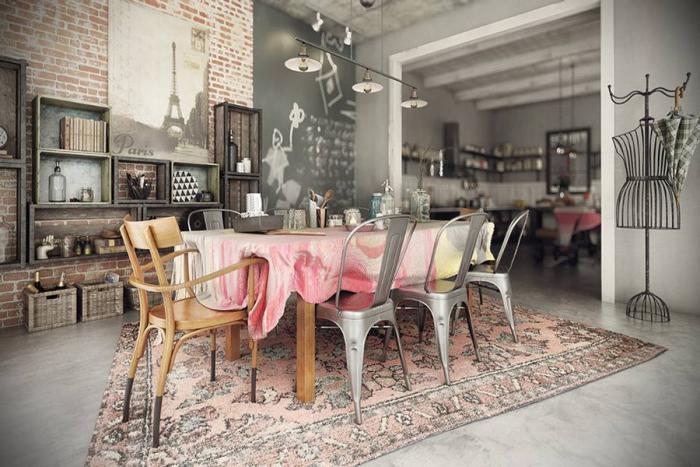 salle-à-manger-style-industriel-vintage-joli-intérieur