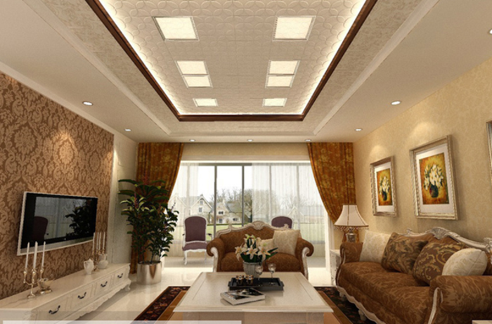 salon-de-luxe-en-beige-canapé-marron-style-chic-rideaux-doubles-plafond-avec-lampes-led