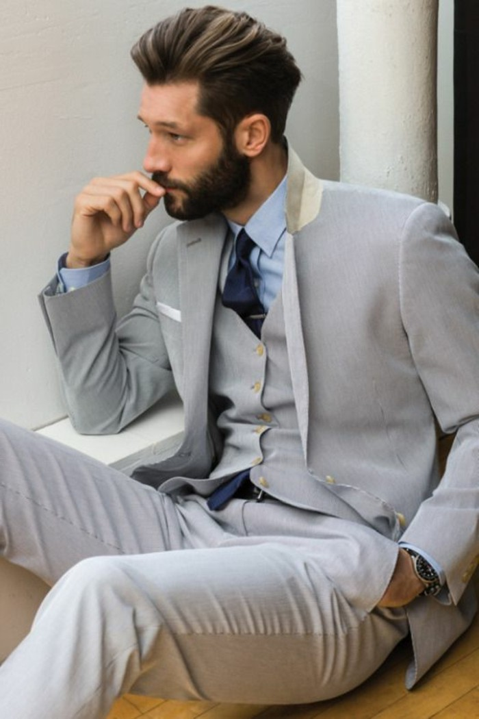 tenue-classe-homme-tenue-mariage-invité-blanc-gris