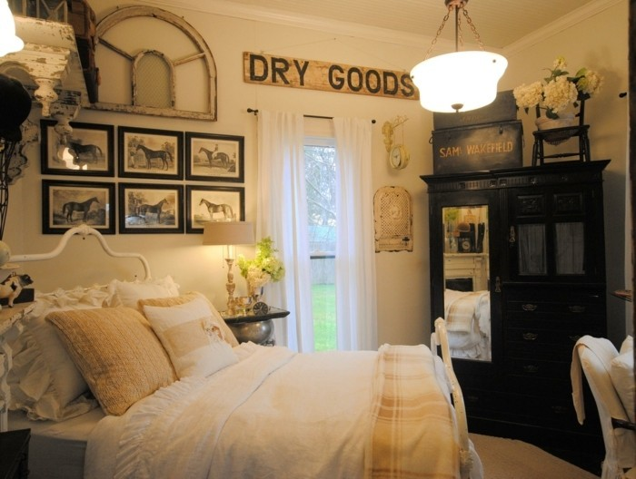 chambre-vintage-déco-chambre-vintage-belle-déco-murale-vintage-armoire-en-bois-lit-en-fer-forgé