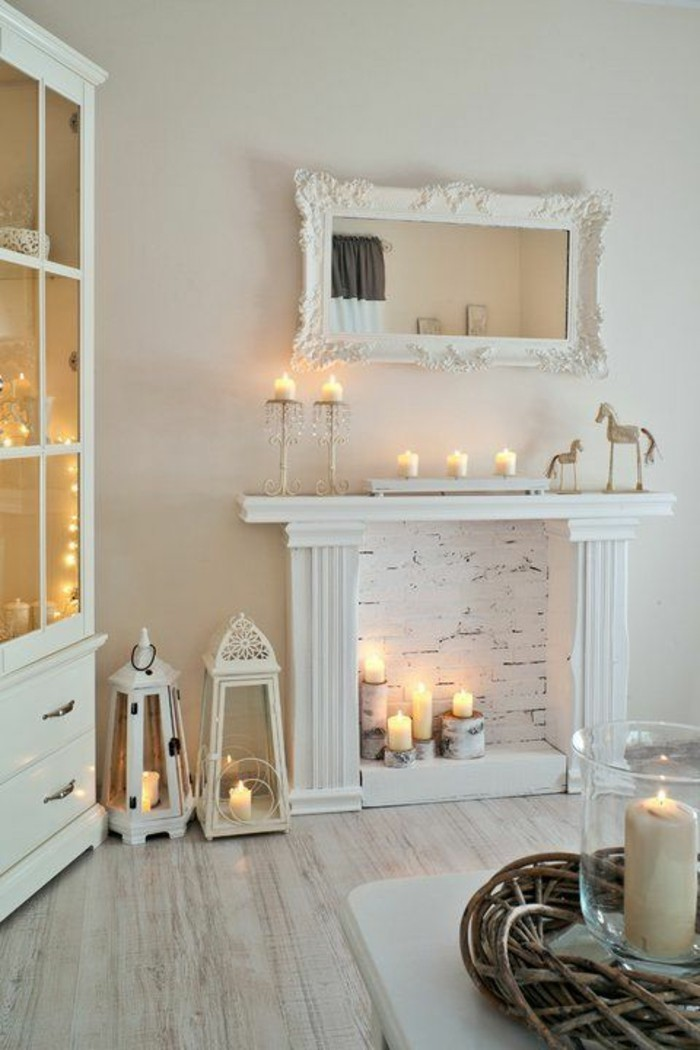 Decoration salon style romantique deco salon blanc with for Style romantique deco