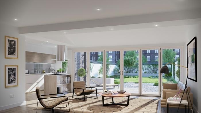 deco-veranda-style-moderne-une-veranda-qui-est-une-veritable-maison-à-part-entière-chaise-longues-petite-table-coin-cuisine
