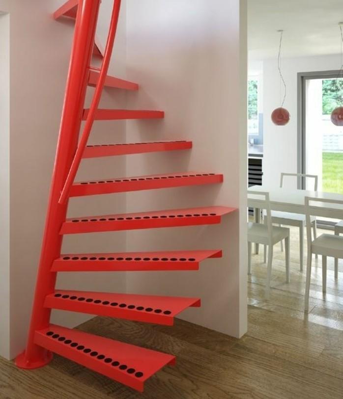 escalier-moderne-escalier-colimaçon-en-rouge