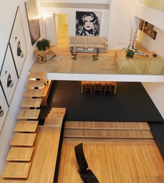 escalier-moderne-escalier-jolie-idée-escalier-limon-central-en-bois