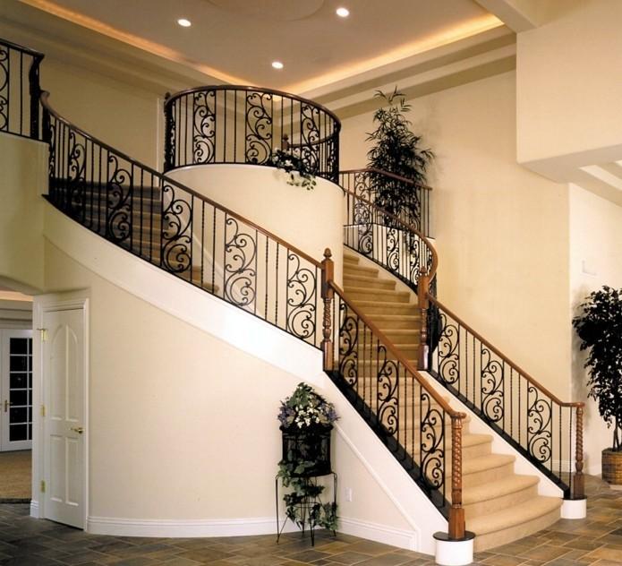 escalier-moderne-pour-une-maison-spacieuse-jolie-idée-tapis-escalier-balustrade-design-estétique-en-noir