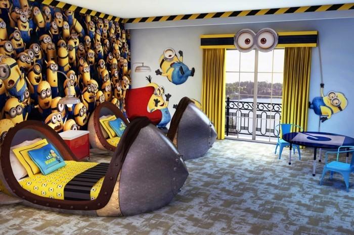idée-très-crétaive-peinture-chambre-enfant-inspirée-du-thème-des-minions-lits-desing-intéressant