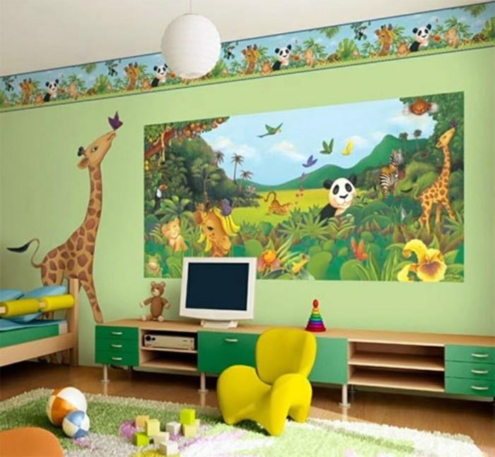 idee-peinture-verte-panneau-murale-sur-le-thème-de-la-jungle-jolie-frise-gaie-déco-qui-crée-une-ambiance-enjouée