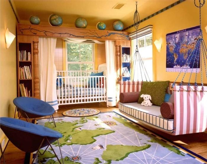 idee-très-originale-peinture-chambre-enfant-jaune-déco-chambre-en-couleurs-différentes-une-véritable-explosion-lit-suspendu-du-plafond