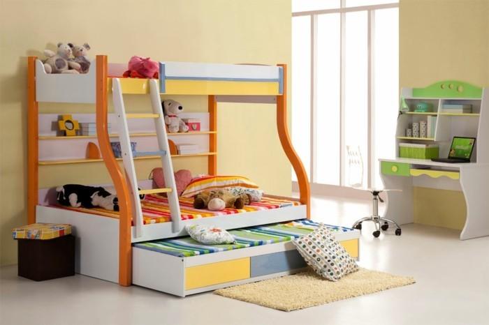 peinture-chambre-enfant-jaune-avec-des-meubles-multicolores-ambiance-enjouée