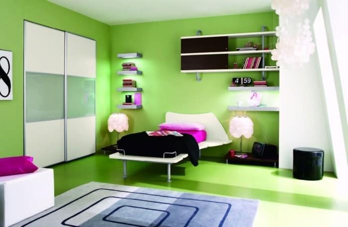 peinture-chambre-enfant-verte-sol-vert-multiples-étagères-lit-design-intéressant