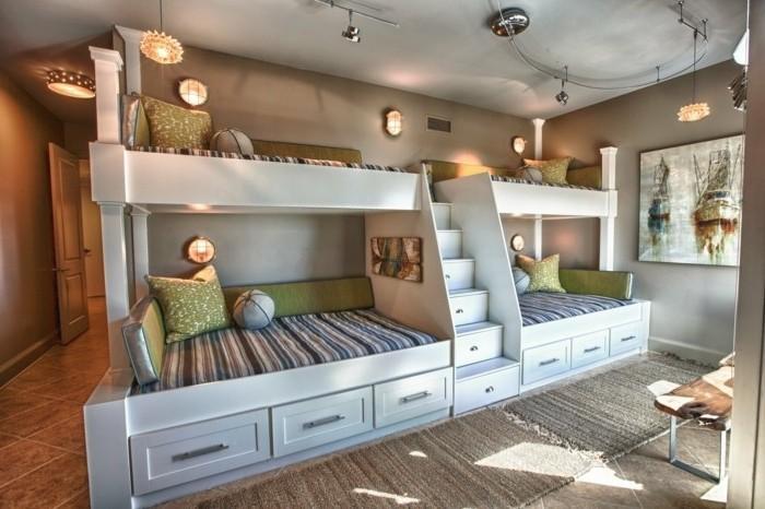 peinture-chambre-enfant-grise-lits-superposés-blancs-jolies-appliques-intégrées-dans-le-mur-tableau