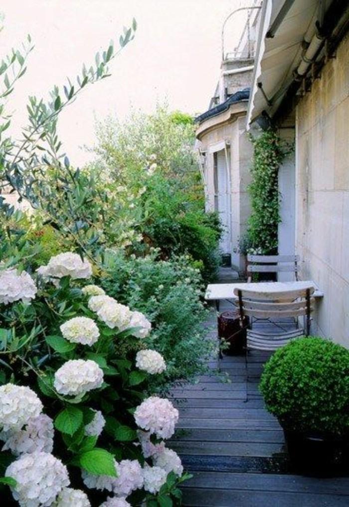 111-Murs de cloture. Fleurs blanches. Buis. Une table et deux chaises