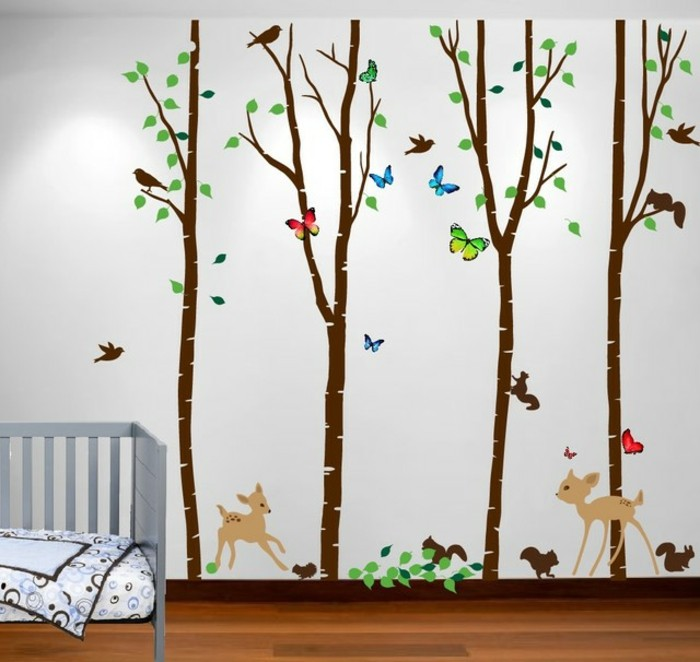 peinture chambre bebe beau dessin mural reprsentant un - Peinture Pour Chambre Bebe