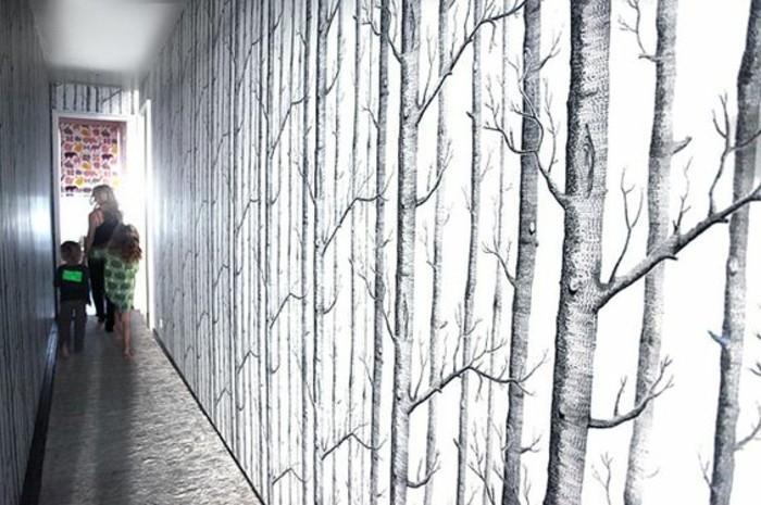 124-Papier peint pour entree. Ornements d'arbres.