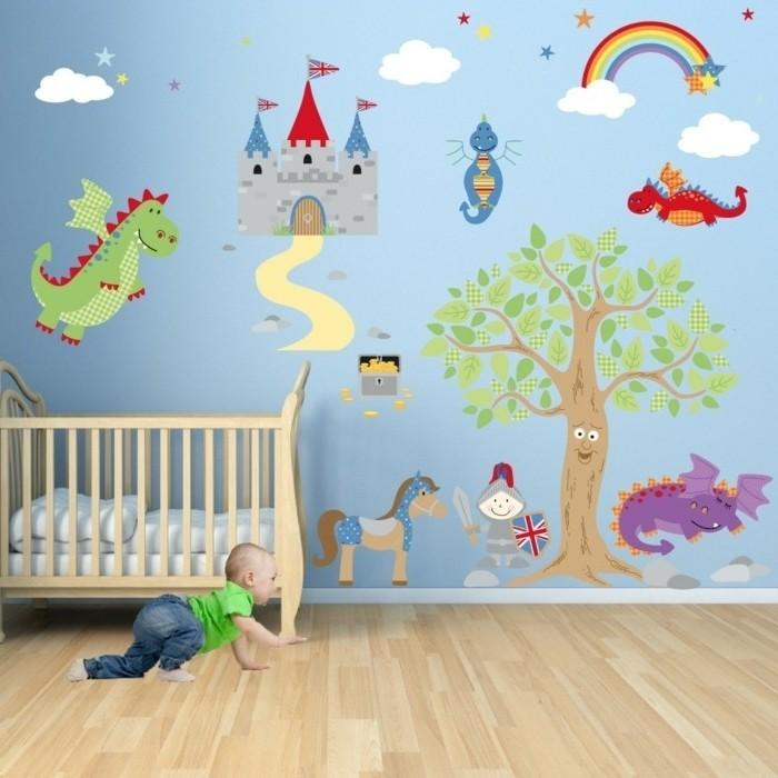 deco-chambre-bebe-garcon-peinture-chambre-bebe-bleue-joli-dessin-mural-inspiré-des-dragons-et-des-châteaux-médiavaux