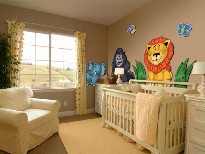 peinture-chambre-bébé-brune-avec-des-dessins-d-animaux-3D-ambiance-enjouée