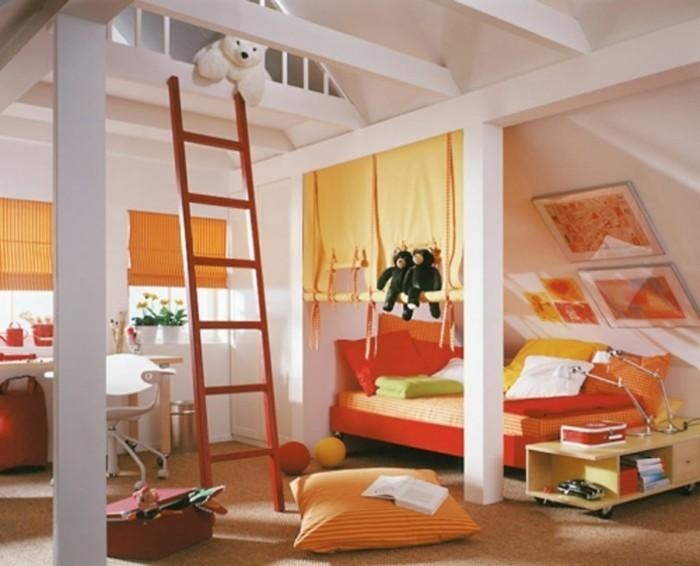 1hambre-enfant-blanche-meubles-et-déco-qui-créent-une-ambiance-joyeuse-couleurs-jaune-rouge-orange