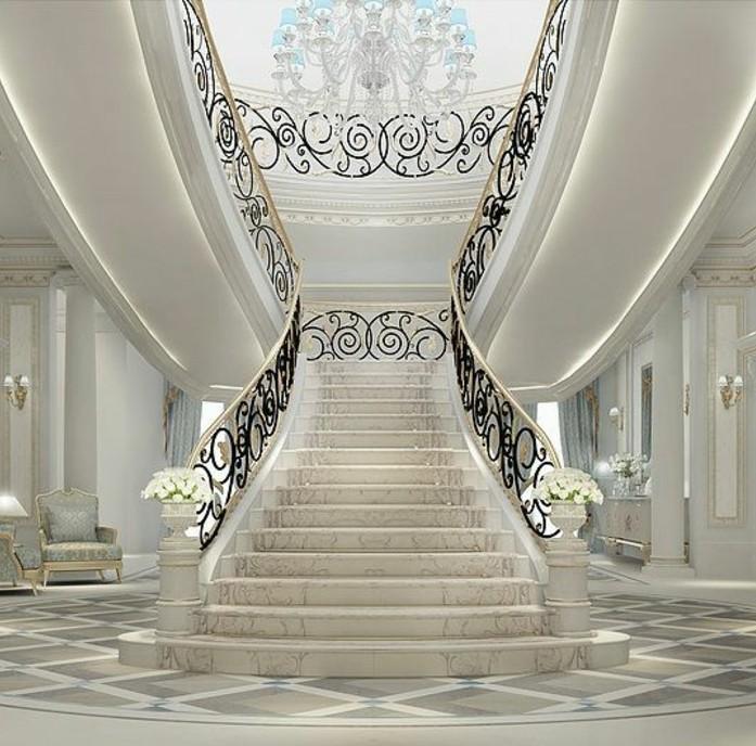 idee-deco-escalier-somptueuse-style-élégant-et-raffiné-maison-de-luxe-rambarde-escalier-à-jolis-arabesques