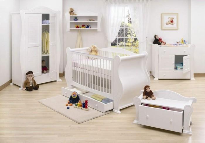 peinture chambre bb en blanc stratifi meubles blancs - Peinture Chambre Bebe