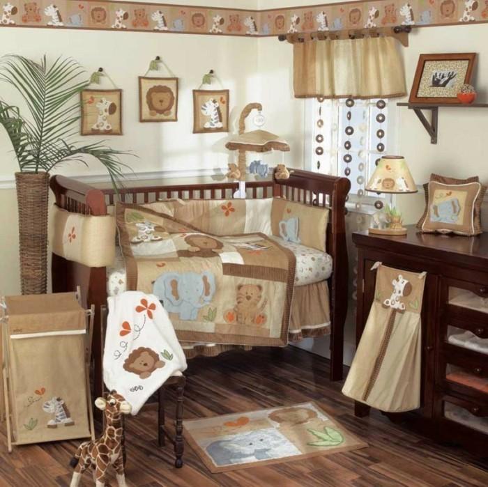 peinture-chambre-bébé-nuance-jaune-clair-déco-chambre-bébé-animaux-maubles-en-bois-marron
