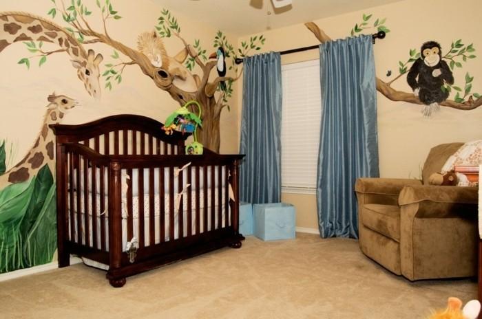 peinture-chambre-bébé-orange-clair-jolie-idée-déco-murale-lit-à-barreaux-en-bois-moquet-marron