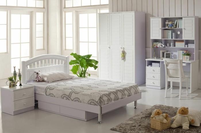 peinture-chambre-enfant-blanche-design-très-esthétique-lignes-épurées-style-et-élégance-pour-la-deco-chambre-fille