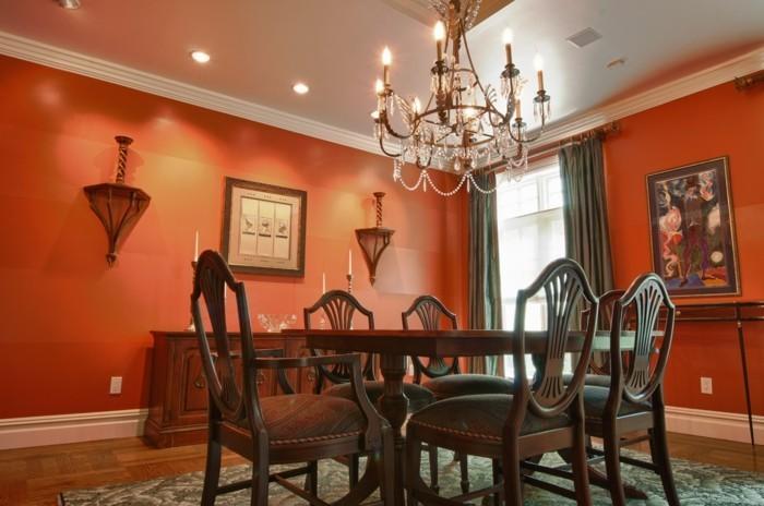 peinture-salle-à-manger-rouge-effet-dramatique-deco-salle-à-manger-feng-shui-aménagée-avec-des-meubles-en-bois