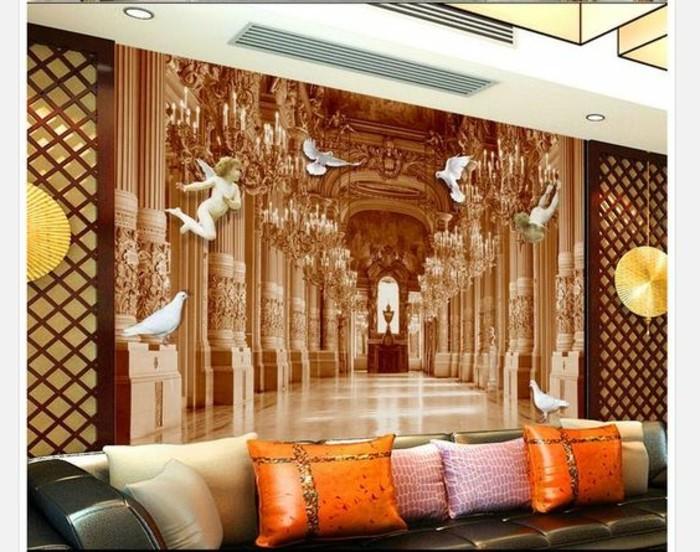 21-Papier peint pour couloir. Un tableau avec des anges. Un canape.