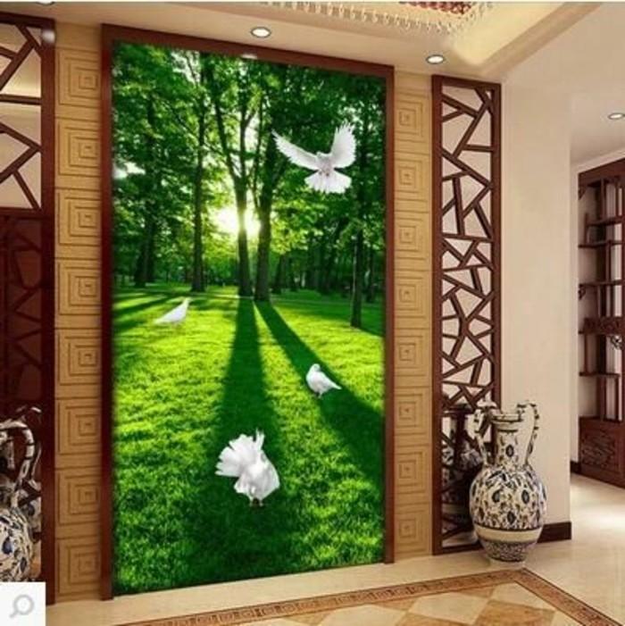 24-Papier peint pour couloir. Grand tableau vert. Une vase.