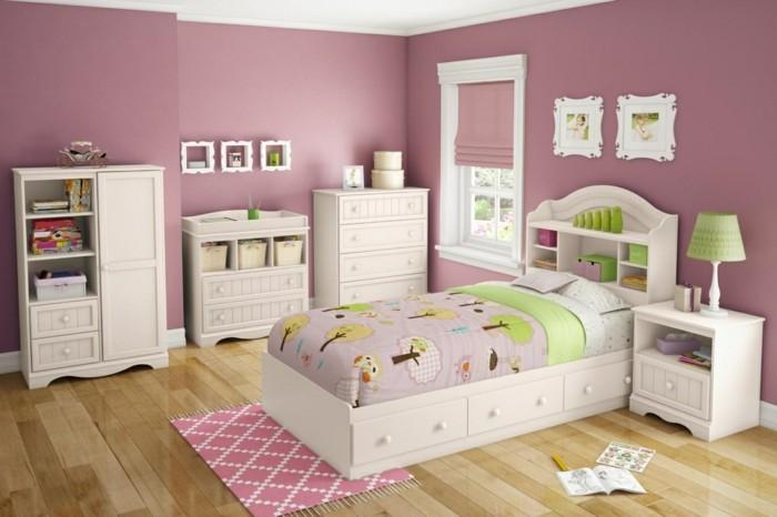 deco-chambre-fille-murs-rose-poudré-meubles-blancs-sublime-idee-peinture-chambre-enfant