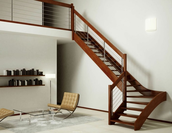 escalier-moderne-design-simple-en-bois-marron