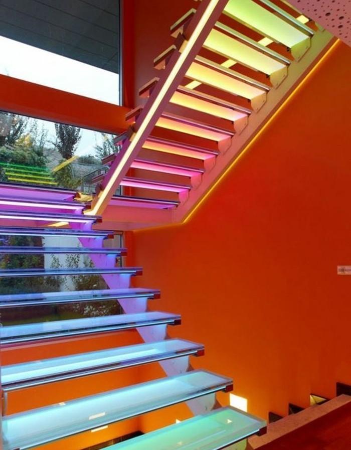 escalier-moderne-modele-escalier-demi-toutnant-escalier-éclairage-LED-en-différentes-couleurs