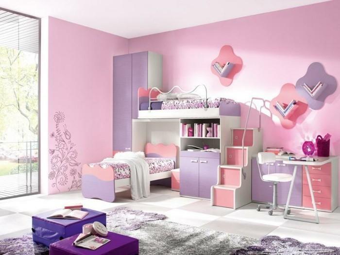 archzine.fr/wp-content/uploads/2016/08/2idee-deco-chambre-fille-peinture-chambre-enfant-en-rose-et-violet-lits-superposés-aemoire-bureau-espace-de-rangement-idée-mignonne