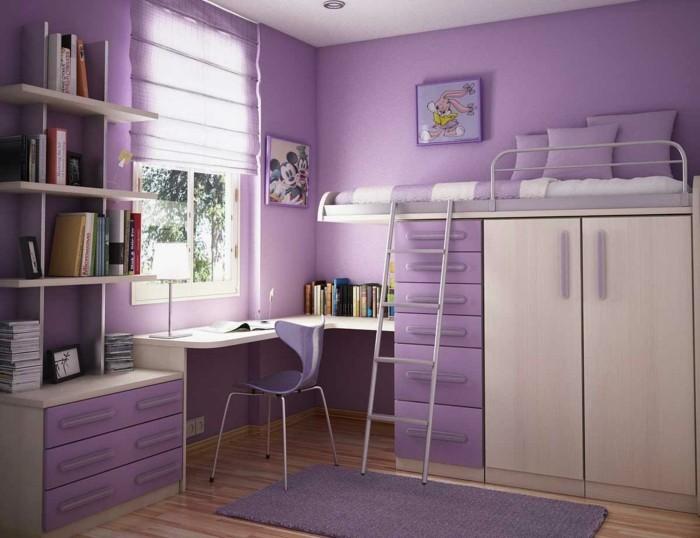 jolie-peinture-chambre-enfant-violette-modele-deco-chambre-fille-lit-en-hauteur-étagères-bureau