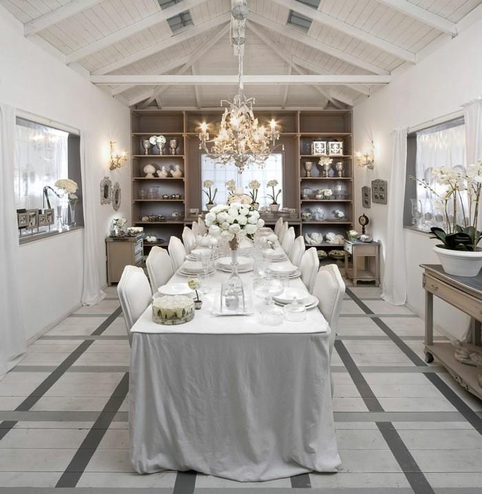 peinture-salle-à-manger-blanche-chaises-et-table-blanches-ambiance-exquise-deco-salle-a-manger-luxe-vaisselier-marron