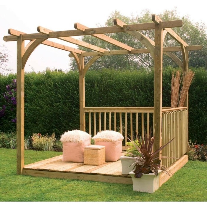 pergola simple bois. Black Bedroom Furniture Sets. Home Design Ideas
