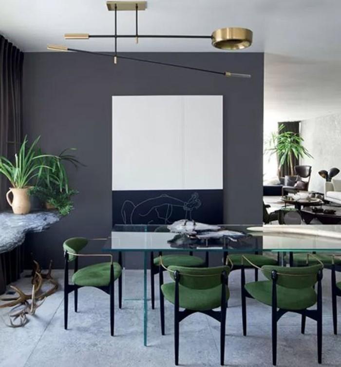 3-lustres-pas-cher-moderne-pour-la-salle-de-sejour-chaises-vertes-autour-de-la-table