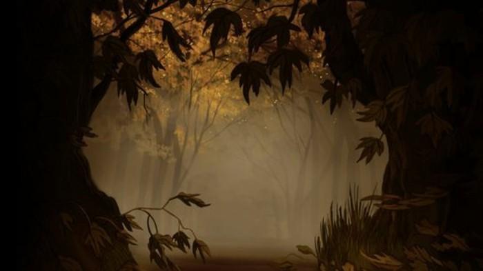33-deco Disney dans le jardin. Brouillard dans la foret.