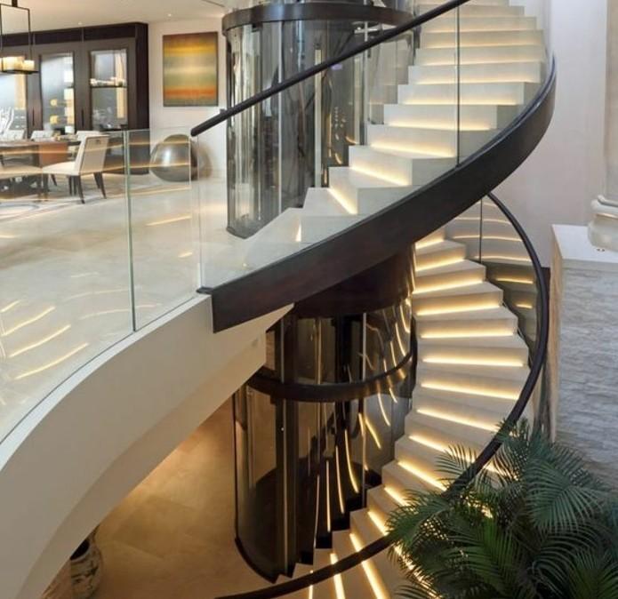 beau-design-escalier-modenre-escalier-colimaçon-en-bois-escalier-éclairage-LED
