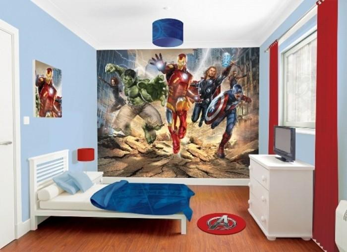 deco-chambre-garcon-dessin-mural-représentant-les-personnages-de-l-univers-marvel-suggestion-pour-les-petits-amateurs-des-BD