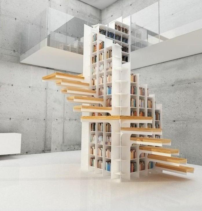 escalier-moderne-design-original-escalier-organisé-autour-d'une-bibliothèque