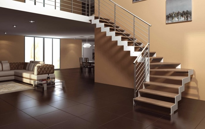 L 39 escalier moderne en 110 photos magnifiques for Escalier bois double quart tournant