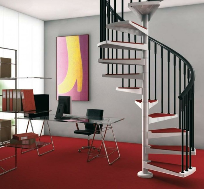 escalier-moderne-modele-escalier-helicoidale-blanc-rouge-et-noir