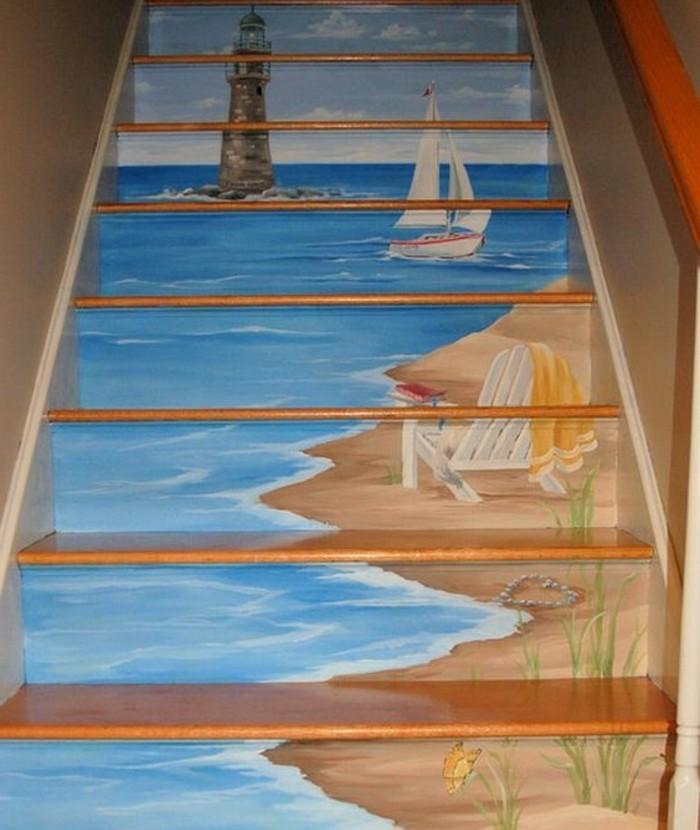 idee-peinture-escalier-bois-originale-inspirée-de-l-amour-pour-la-mer-et-les-paysages-nautiques
