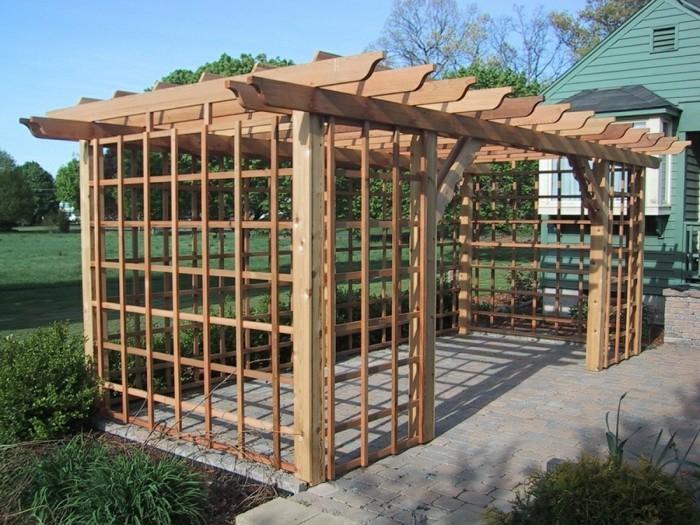 joli-design-pergola-en-bois-moderne-très-stylée-pergola-de-jardin