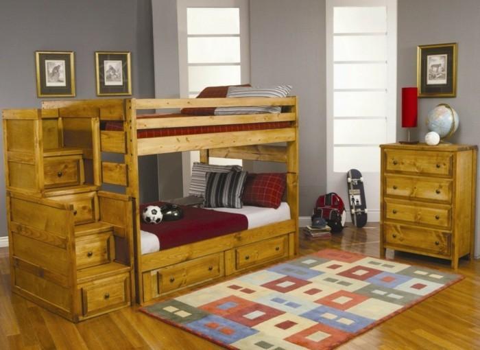 peinture-chambre-enfant-grise-des-lits-superposés-pour-deux-garçons-meubles-en-bois-vintage