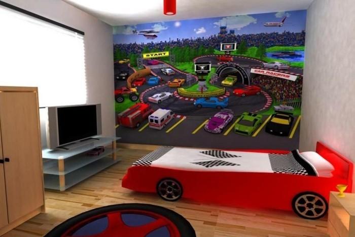 peinture-chambre-enfant-pour-les-amateurs-des-voitures-lit-design-intéressant-imitant-une-voiture